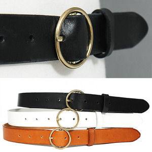 Gold Tone Circle Buckle Black Leather Belt