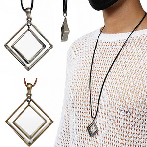 Double Square Pendant Strap Necklace 51