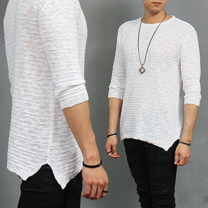 3/4 Sleeve Split Side Slub Cotton knit Tee