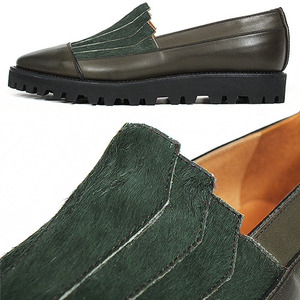 Khaki Fur Handmade Leather Slip On Loafers 3959