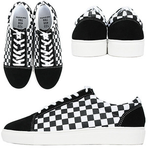 Black White Chess Pattern Lace Up Sneakers