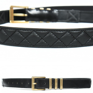 Triple Gold Buckle Quilted Black Leather Belt