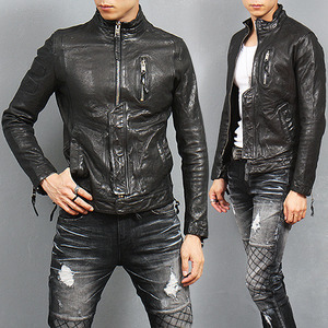 Designer China Collar Side Zipper Genuine Leather Jacket