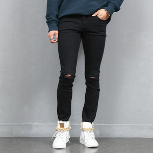 Knee Cutting Super Skinny Black Jeans 910