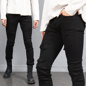 Vintage Cutting Distressed Black Skinny Jeans 368