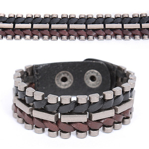 Oyster Steel Twisted Leather Bracelet 197