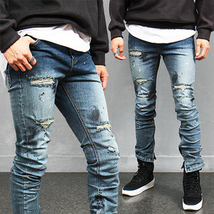 Vintage Effect Zippered Hem Ripped Slim Blue Jeans