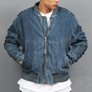 Shirring Sleeve Denim Bomber Shearling Jacket