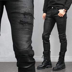 Wax Coated Distressed Worn Slim Black Jeans 279