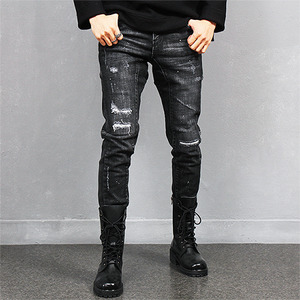 Distressed Cut Slim Black Bikers Jeans 281