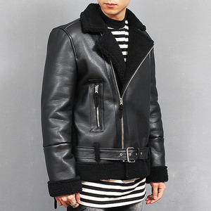 Aviator Shearling Faux Leather Zipper Biker Jacket 670