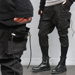 Double Cargo Pocket Long Ribbed Hem Slim Baggy Sweatpants