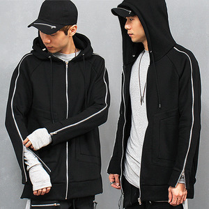 Zipper Sleeve Split Side Zip Up Long Hoodie