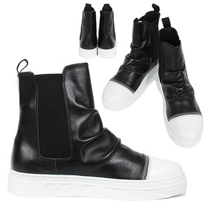 Shirring Leather Zipper Chelsea Sneaker Boots 040
