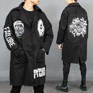 Loose Fit Statement Logo Printing Long Jacket
