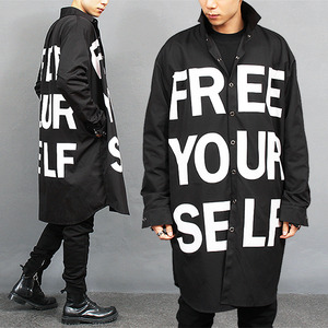 Over Long Statement Printing Black Boxy Shirt