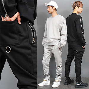 Long Ring Zipper Sleeve Hem Gym Wear Set