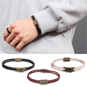 Double Twisted Leather Strap Bracelet 203