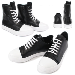 Lace Up Contrast Black White Sneakers