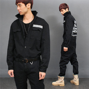 Overall Cargo Pocket Black Denim Biker Jumpsuit