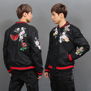 Butterfly Flower Stitch Patched Faux Leather Bomber Jacket