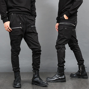 Wide Zipper Big Cargo Pocket Slim Jogger Pants