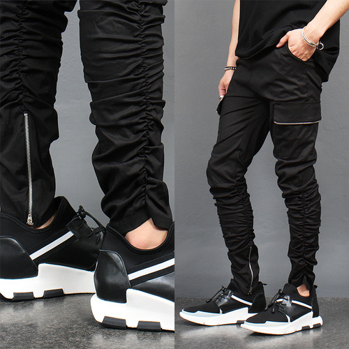 Shirring Wrinkle Zipper Cargo Sweatpants