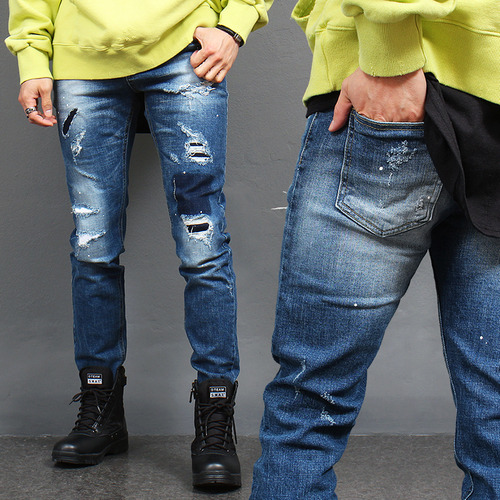 Vintage Slim Fit Patched Distressed Jeans 1017