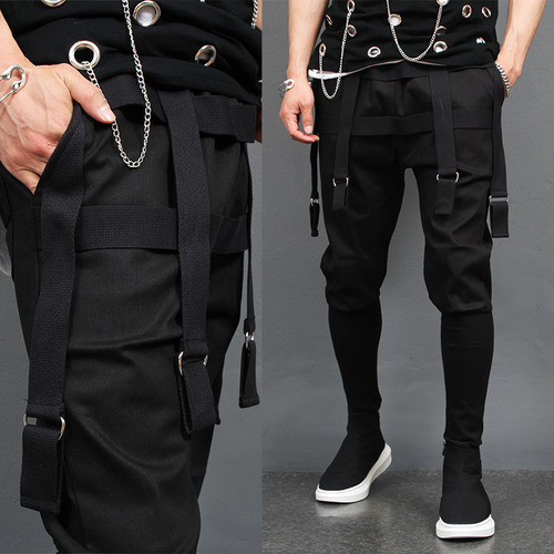 D Ring Strap Long Ribbed Hem Semi Baggy Sweatpants