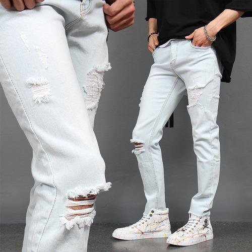 Distressed Cut Off Icing Light Blue Slim Jeans 1031
