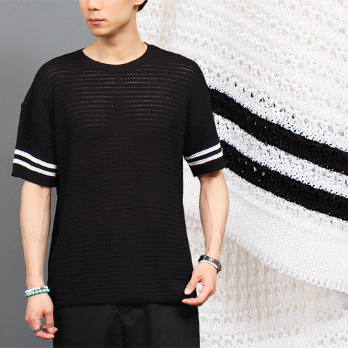 See Through Striped Short Sleeve Knit Tee