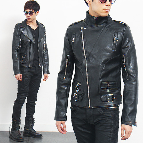 Notched Lapel Collar Zipper Styling Faux Leather Jacket