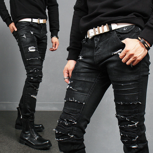 Vintage Wax Coated Heavy Distress Skinny Black Jeans