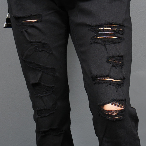 Distressed Ripped Cut Off Hem Skinny Jeans 1053