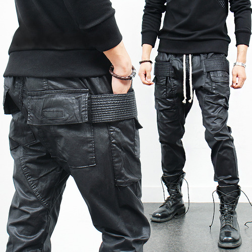 Avant garde Low Crotch Flap Pocket Black Wax Coated Sweatpants
