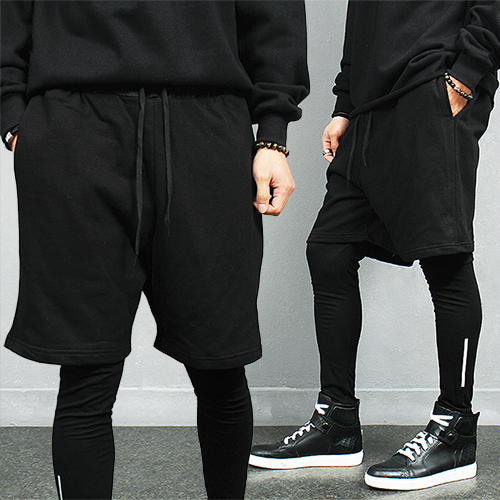 Avant garde Layered Leggings Baggy Half Sweatpants