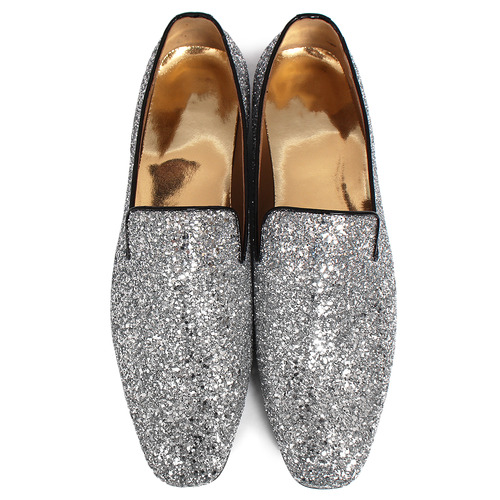 Silver Crystal Glitter Encrusted Loafers Slip Ons Handmade-R5271