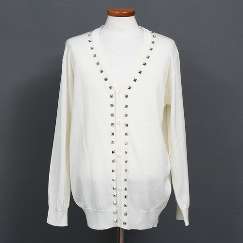 Pyramid Studded Button Up Knit Cardigan