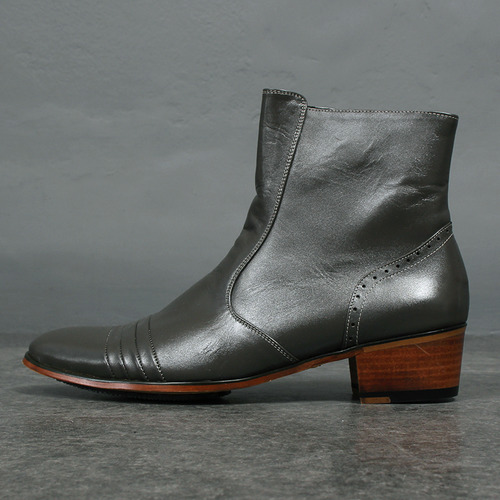 Gray Side Zipper Handmade Leather Ankle Boots 4612