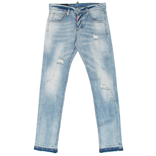 Distress Fade Slim Light Blue Jeans