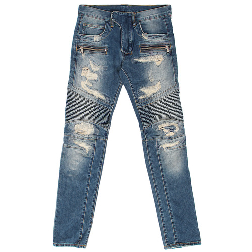 Destroyed Damage Zipper Biker Slim Jeans