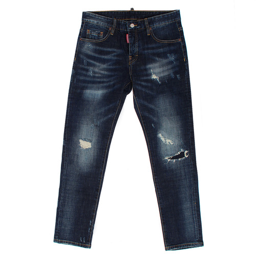 Distressed Faded Knee Patch Slim Blue Jeans