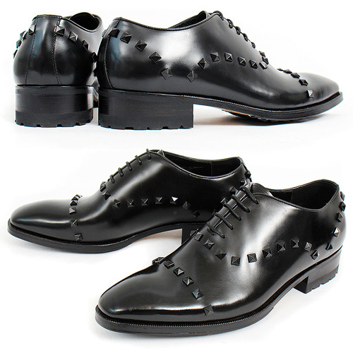 Avant Garde Black Leather Studs Classic Handmade Oxfords 5418