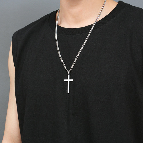 Silver Tone Matte Steel Cross Chain Necklace N63