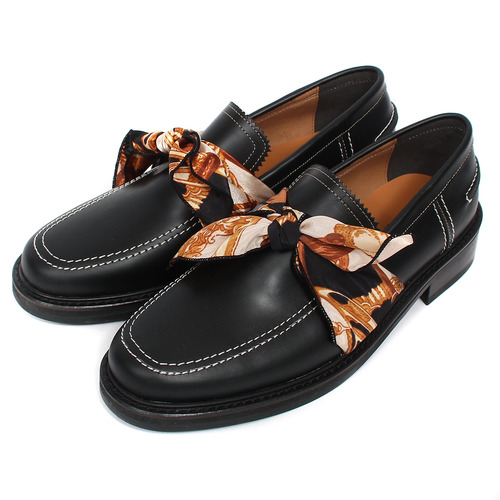 Scarf Tied Up Dainite Sole Handmade Leather Loafers