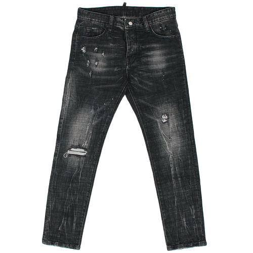 Vintage Faded Distressed Dirty Washing Black Jeans