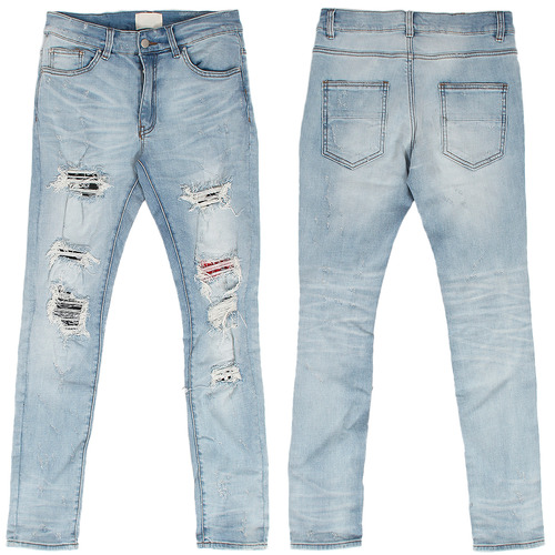 Ribbed Patch Layered Destroyed Light Blue Skinny Jeans