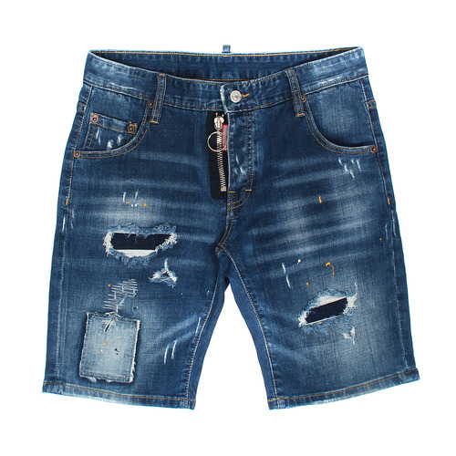 Front Zipper Vintage Patched Distressed Denim Shorts
