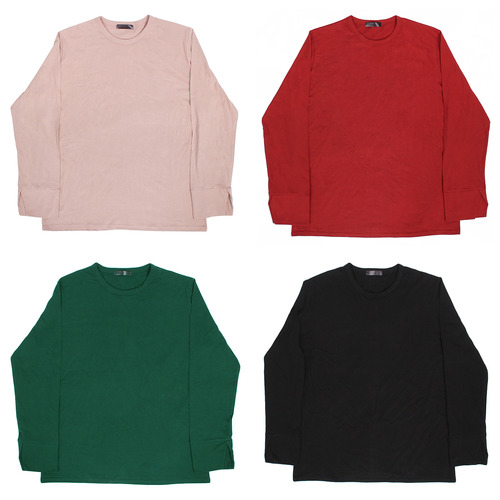 Cuff Split Long Sleeve Color T Shirt