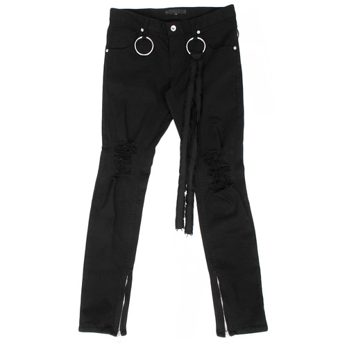 Ring Styling Zipper Hem Ripped Skinny Jeans